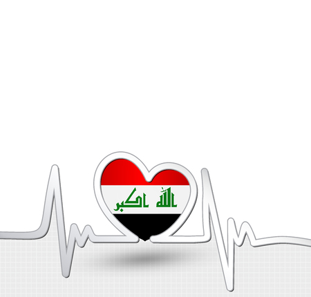 Iraq flag heart and heartbeat line.