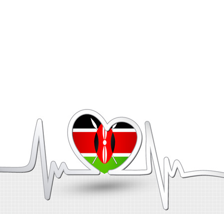 Kenya flag heart and heartbeat line. Ilustracja