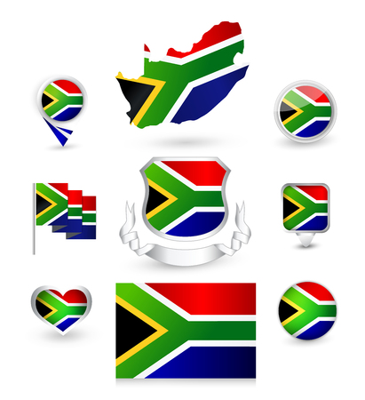 South Africa Republic Flag Collection. Vector icon set. Illustration