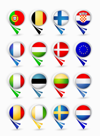 Bubble map pin pointers with flags. European Union members.