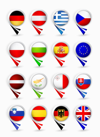Bubble map pin pointers with flags. European Union members. Part 2.
