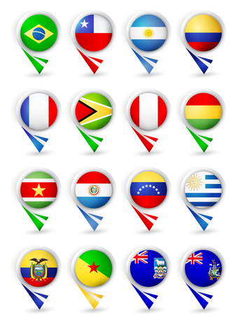 Bubble map pin pointers with flags. All South America countries. Vector illustration   on white background.
