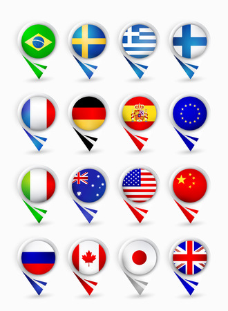 Bubble map pin pointers with flags. Most popular flags Vector illustration.