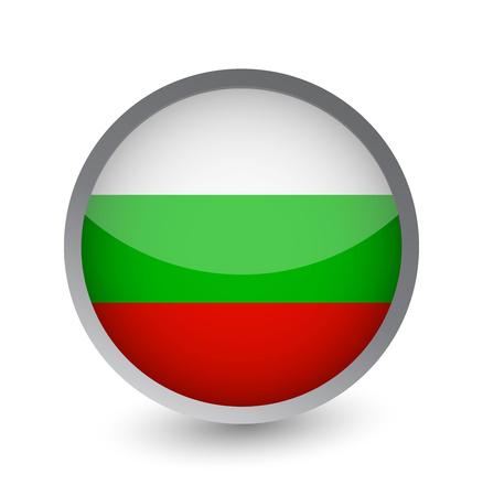 Bulgaria Flag Round Glossy Icon. Vector illustration.