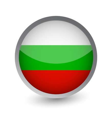 Bulgaria Flag Round Glossy Icon. Vector illustration.