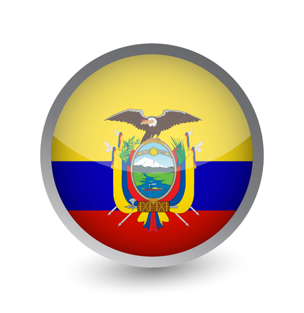 Ecuador Flag Round Glossy Icon. Vector illustration.