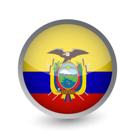 Ecuador Flag Round Glossy Icon. Vector illustration.
