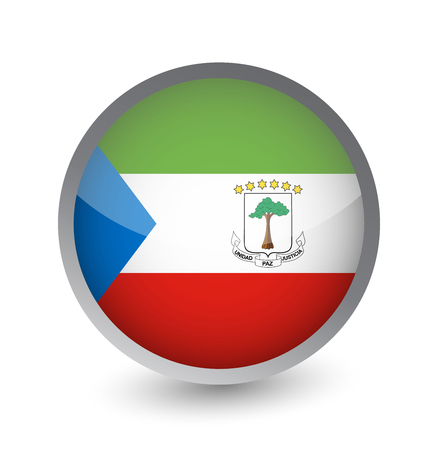 Equatorial Guinea Flag Round Glossy Icon. Vector illustration.