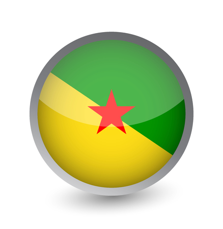 Free French Guiana Flag Round Glossy Icon. Vector illustration.