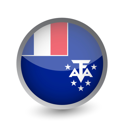 French Southern Territories Flag Round Glossy Icon. Vector illustration. Illustration