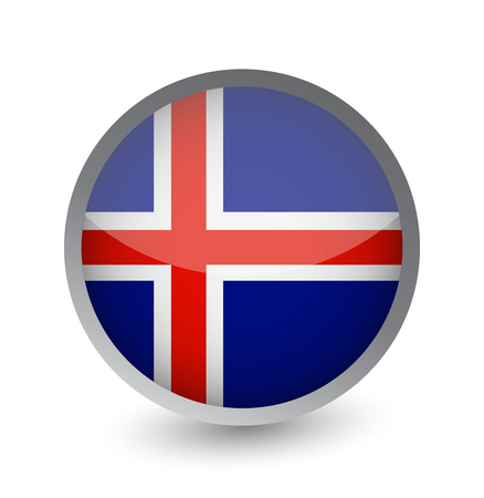 Iceland Flag Round Glossy Icon. Vector illustration. Stock Illustratie