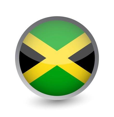 Jamaica Flag Round Glossy Icon. Vector illustration.