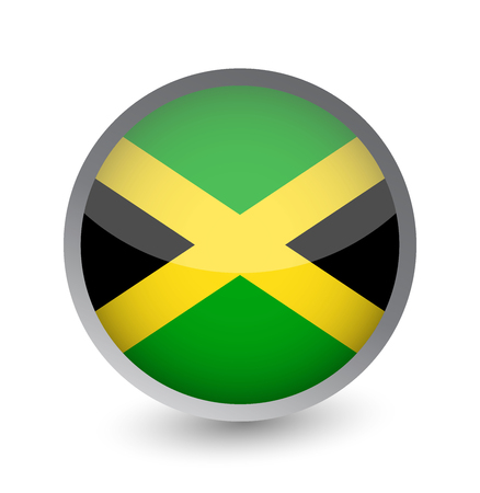 Jamaica Flag Round Glossy Icon. Vector illustration.