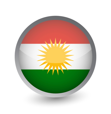 Kurdistan Flag Round Glossy Icon. Vector illustration. Çizim