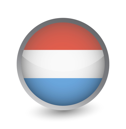 Luxembourg Flag Round Glossy Icon. Vector illustration. Vectores