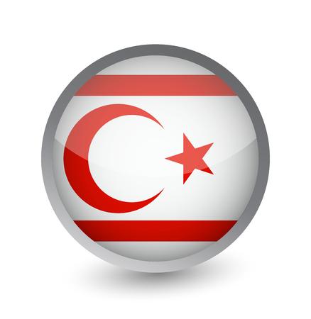 Northern Cyprus Flag Round Glossy Icon. Vector illustration. Illustration