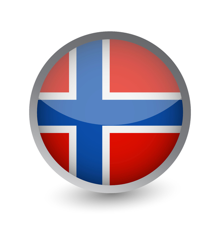 Norway Flag Round Glossy Icon. Vector illustration.