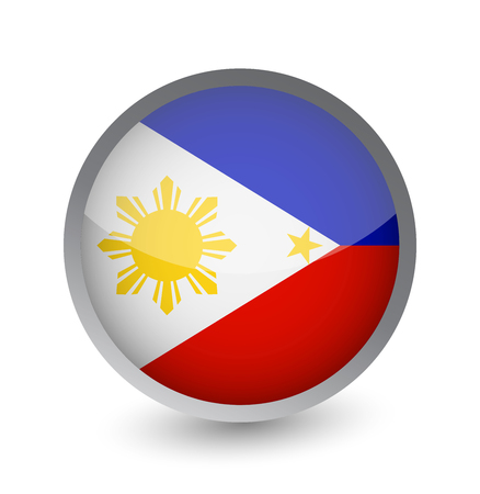 Philippines Flag Round Glossy Icon. Vector illustration. Ilustração