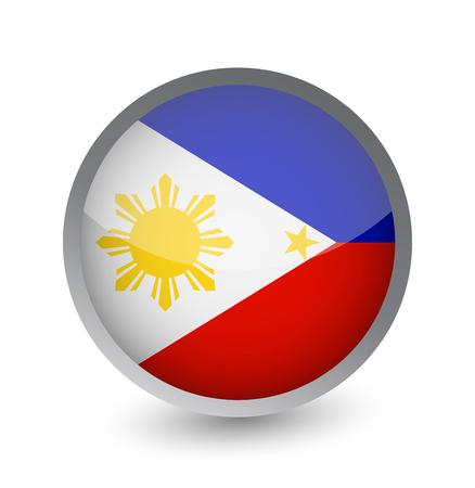 Philippines Flag Round Glossy Icon. Vector illustration. Illustration