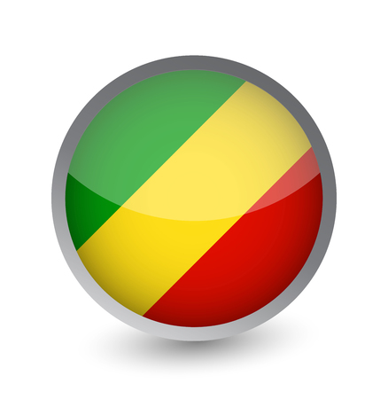 Republic of the Congo Flag Round Glossy Icon. Vector illustration.