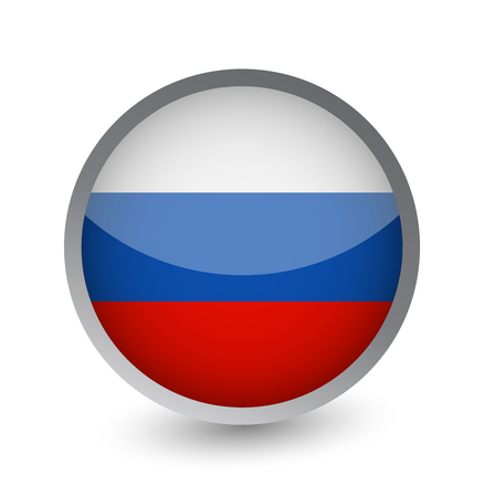Russia Flag Round Glossy Icon. Vector illustration. Vectores