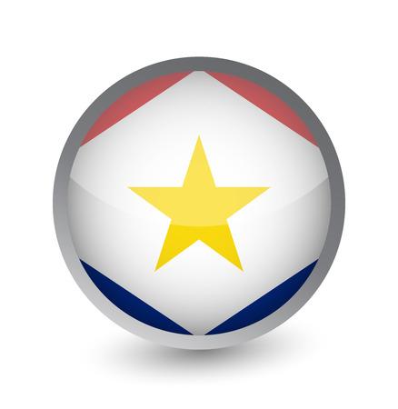 Saba Flag Round Glossy Icon. Vector illustration.