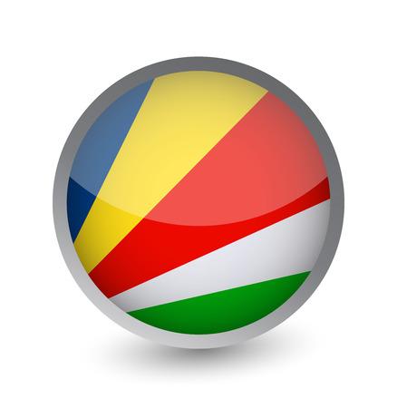 Seychelles Flag Round Glossy Icon. Vector illustration. Stock Illustratie