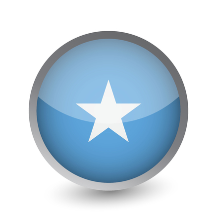 Somalia Flag Round Glossy Icon. Vector illustration.
