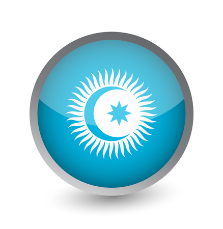 Turkic Council Flag Round Glossy Icon. Vector illustration.