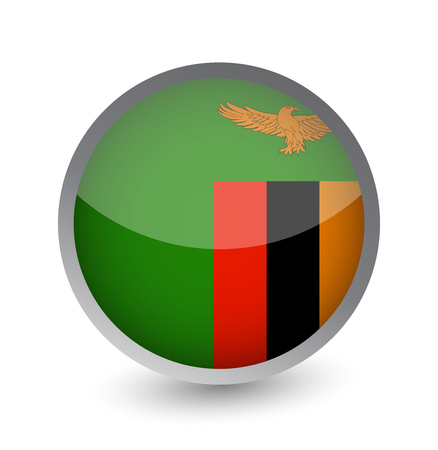 Zambia Flag Round Glossy Icon. Vector illustration. Illustration