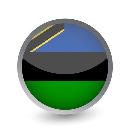 Zanzibar Flag Round Glossy Icon. Vector illustration.
