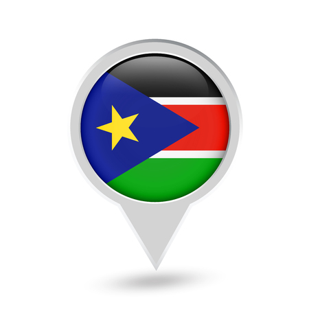 South Sudan Flag Round Pin Icon. Vector icon. Illustration