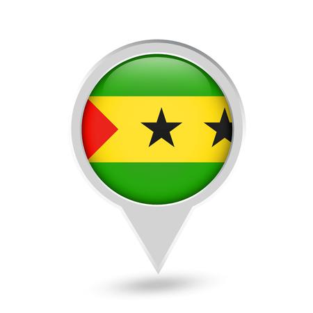 Sao Tome and Principe Flag Round Pin Icon. Vector icon.