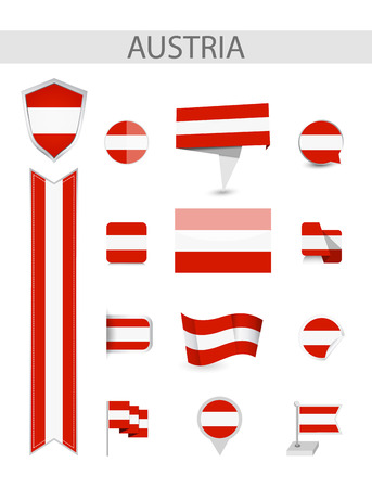 Austria Flag Collection. Flat flags vector illustration.
