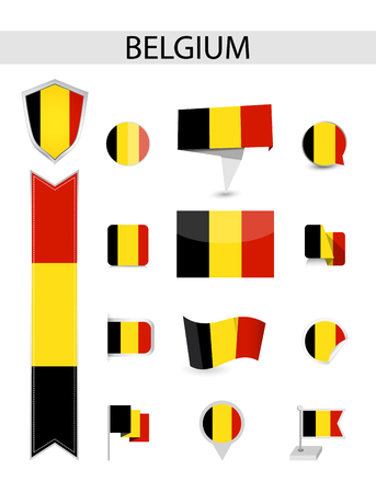 Belgium Flag Collection. Flat flags vector illustration.