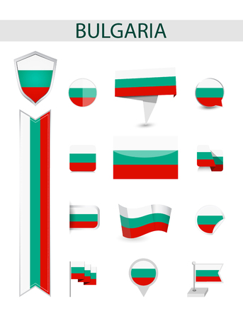 Bulgaria Flag Collection. Flat flags vector illustration.