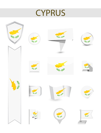 Cyprus Flag Collection. Flat flags vector illustration.