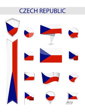 Czech Republic Flag Collection. Flat flags vector illustration.
