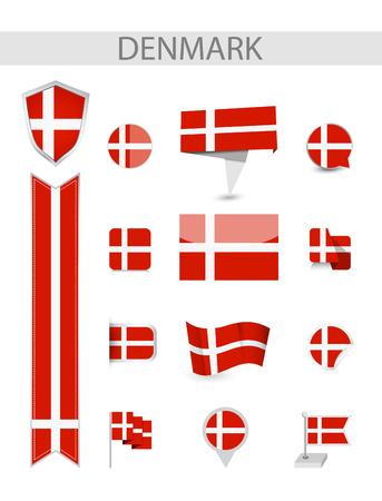 Denmark Flat Flag Collection. Flat flags vector illustration. Ilustrace