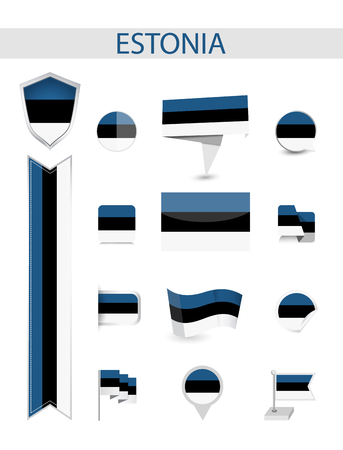 Estonia Flag Collection. Flat flags vector illustration.
