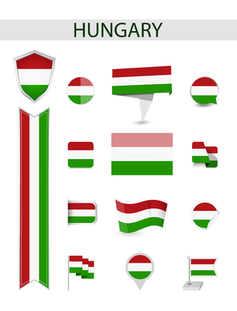Hungary Flag Collection. Flat flags vector illustration. Ilustrace