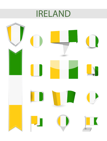 Ireland Flag Collection. Flat flags vector illustration. 向量圖像