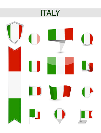 Italy Flag Collection. Flat flags vector illustration.