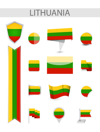 Lithuania Flag Collection. Flat flags vector illustration.