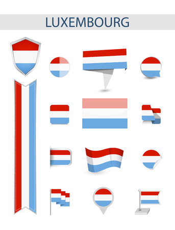 Luxembourg Flag Collection. Flat flags vector illustration.