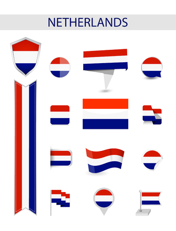 Netherlands Flag Collection. Flat flags vector illustration.