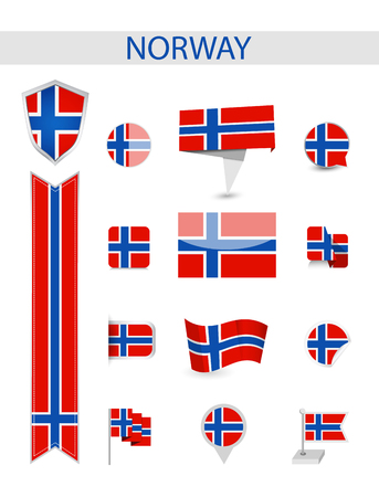 Norway Flag Collection. Flat flags vector illustration. Ilustrace
