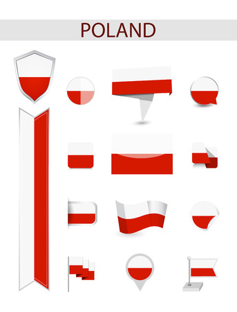 Poland Flag Collection. Flat flags vector illustration.