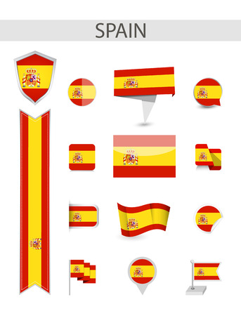 Spain Flag Collection. Flat flags vector illustration.