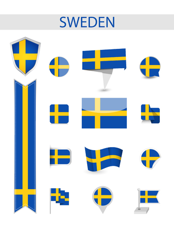 Sweden Flag Collection. Flat flags vector illustration.